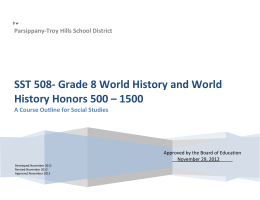 SST 508- Grade 8 World History and World History Honors 500 – 1500