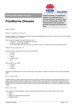 Foodborne disease Factsheet PDF