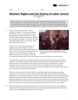 CommonLit | Workers` Rights and the History of Labor Unions