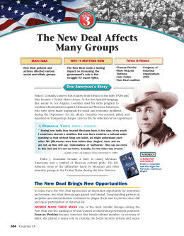 The New Deal Affects Many Groups