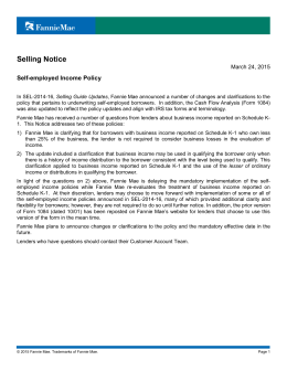 Selling Notice: Self-employed Income Policy