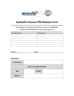 KyHealth Choices PIN Release Form