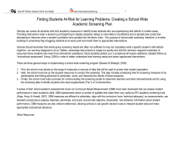 Creating a School-Wide Academic Screening Plan