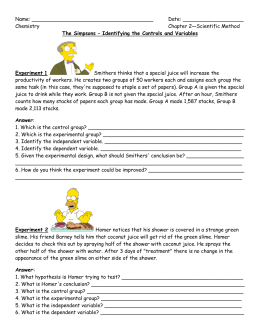 Name: Date: Chemistry Chapter 2—Scientific Method The Simpsons –