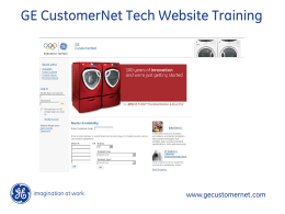 GE CustomerNet Tech Website Training