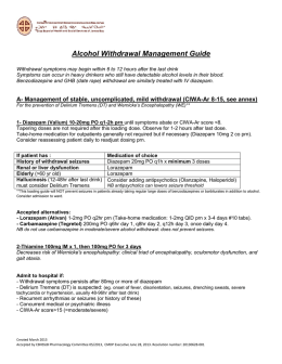 Alcohol Withdrawal Management Guide