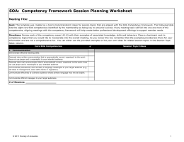 Competency Framework Session Planning Worksheet