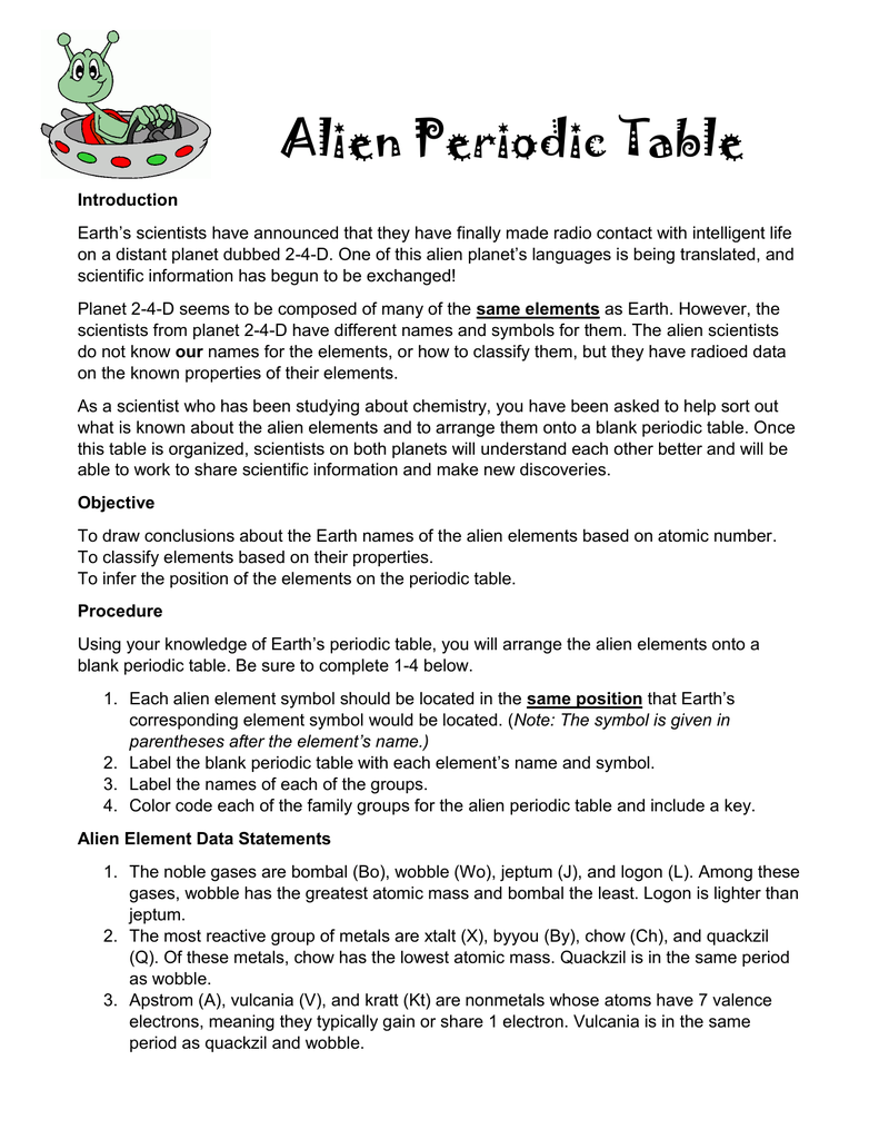 The alien periodic table answers gallery periodic table images the alien periodic table answers choice image periodic table images all grade worksheets periodic trends worksheet gamestrikefo Choice Image
