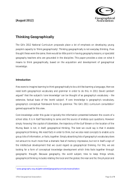 Thinking Geographically - Geographical Association