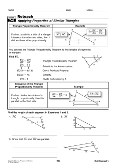 7-4 Reteach Applying Properties of Similar Triangles