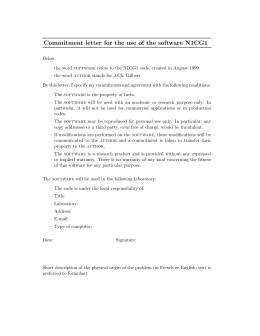 Commitment letter for the use of the software N1CG1