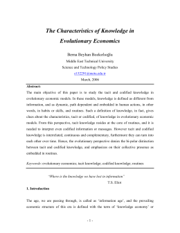 The Characteristics of Knowledge in Evolutionary Economics