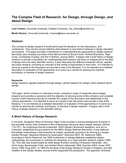 The Complex Field of Research: for Design, through