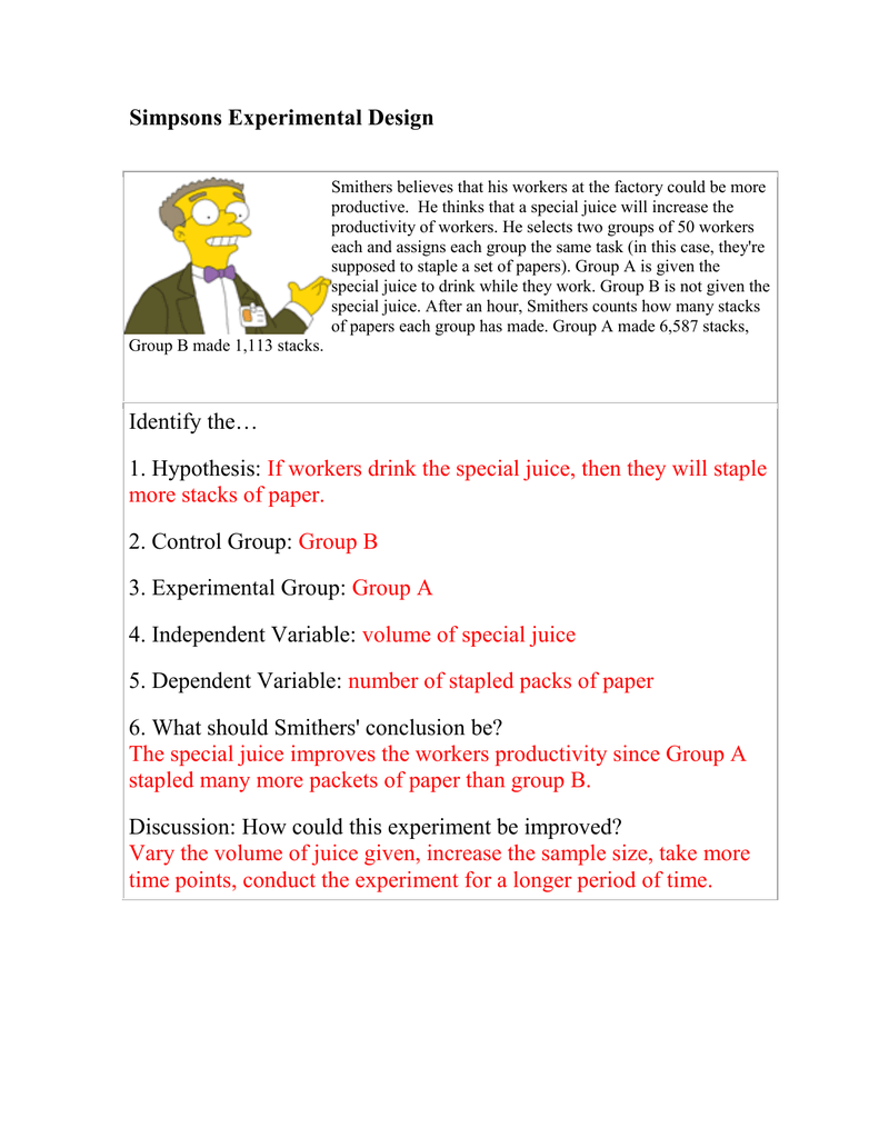 Simpsons Experimental Design Intended For Experimental Variables Worksheet Answers