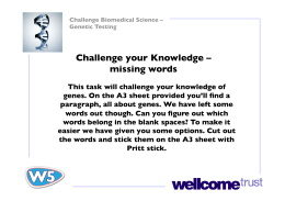 Challenge your Knowledge – missing words