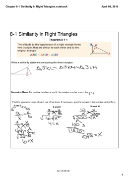 Chapter 8-1 Similarity in Right Triangles.notebook