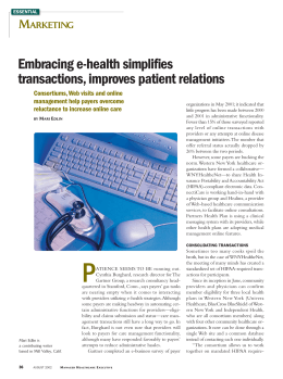 Embracing e-health simplifies transactions, improves patient relations