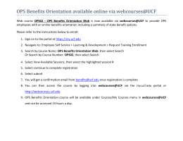 OPS Benefits Orientation available online via webcourses@UCF