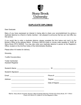 duplicate diplomas - Stony Brook University