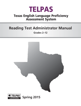 TELPAS Reading Test Administrator Manual