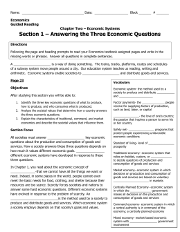 Section 1 – Answering the Three Economic Questions