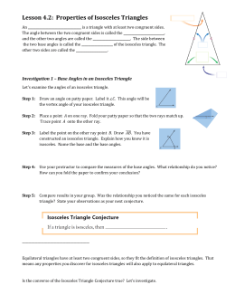 Lesson 4.2: Properties of Isosceles Triangles