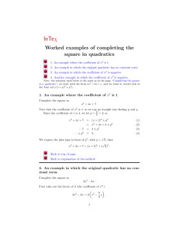 Worked examples of completing the square