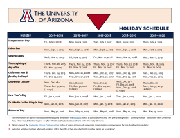 Holiday Schedule - The University of Arizona
