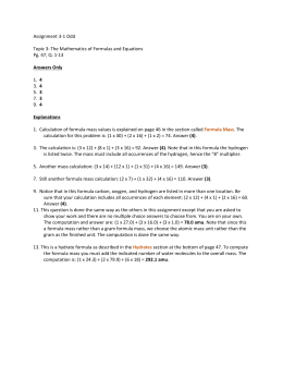 Assignment 3-1 Odd Topic 3: The Mathematics of Formulas and