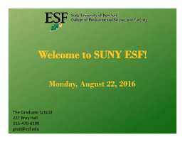 PP Presentation from Orientation - SUNY-ESF