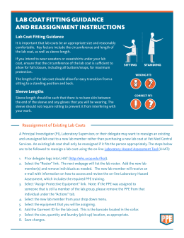 Lab Coat Fitting Guidance and Reassignment Instructions PDF