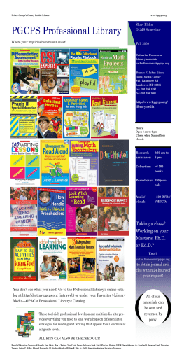 PGCPS Professional Library - Prince George`s County Public Schools
