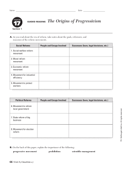 17 GUIDED READING The Origins of Progressivism