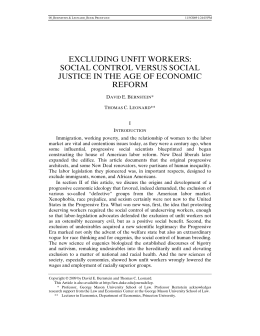 Excluding Unfit Workers - Duke Law Scholarship Repository