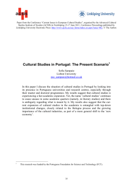 Cultural Studies in Portugal: The Present Scenario