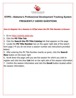How do I Register for a Session in STIpd when the PD Title Number
