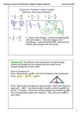 Geometry Lesson 8-4 Similarity in Right Triangles.notebook
