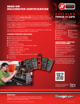 SNAP-ON® MULTIMETER CERTIFICATION