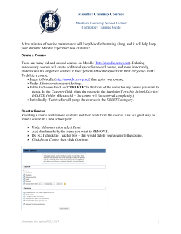 Moodle: Cleanup Courses - Manheim Township School District
