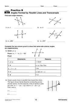 3-2 Practice B Angles Formed by Parallel Lines and Transversals