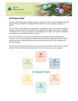 JA Finance Park Virtual Curriculum Overview 15