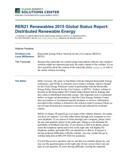 REN21 Renewables 2015 Global Status Report