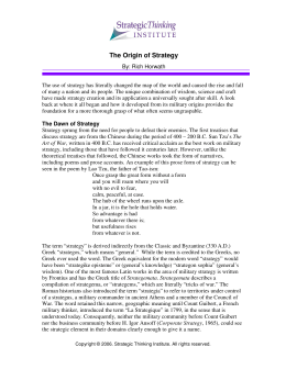 The Origin of Strategy - Strategic Thinking Institute