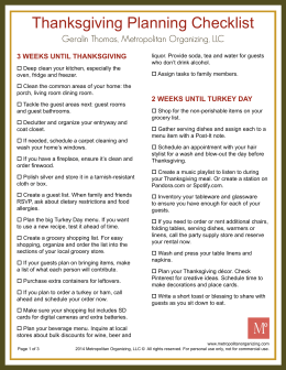 Thanksgiving Planning Checklist
