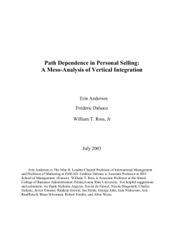 Path Dependence in Personal Selling: