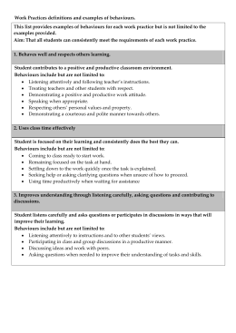 Work Practices definitions and examples of behaviours. This list