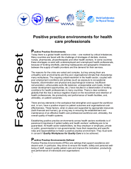 Positive practice environments for health care professionals