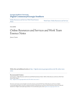 Online Resources and Services and Work Team Essence Notes