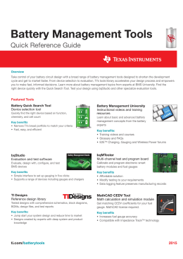 Battery Management Tools Quick Reference