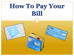How To Pay Your Bill - Student Accounts